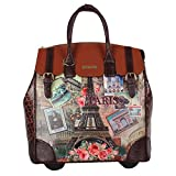 Nicole Lee Women's Exclusive Vintage Europe Print Rolling Business Laptop Compartment Travel Tote, Vintage European Stamp, One Size