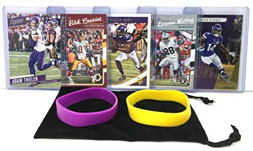- Minnesota Vikings Cards: Adam Thielen, Steffon Diggs, Kirk Cousins, Dalvin Cook, Latavius Murray ASSORTED Football Trading Card and Wristbands Bundle