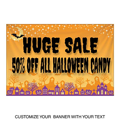 HALF PRICE BANNERS | Custom | Halloween Bat Vinyl Banner | Heavy Duty Outdoor | 4'x6' Orange | Free Bungees & Zip Ties | Easy Hang Advertising Sign | Business Holiday | Various Sizes | Made in the USA -