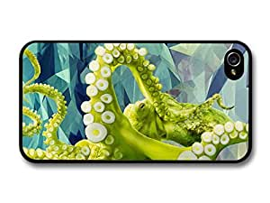 Green Octopus In A Geometric Pattern Illustrated Background Hipster Style case for iPhone 4 4S