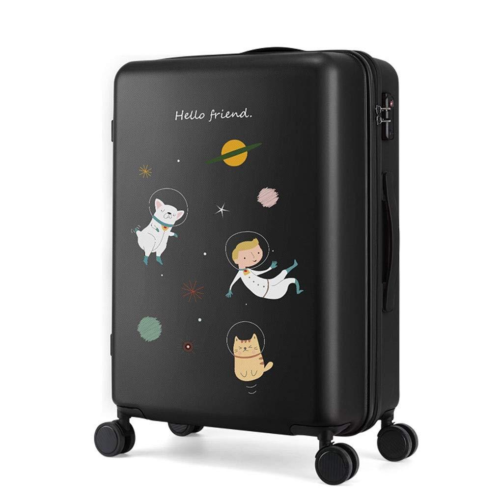 FRF トロリーケース- 男性と女性漫画トロリー荷物スーツケース20インチ、ユニバーサルホイール24インチ学生パスワードスーツケース (色 : Black A, サイズ さいず : 24in) 24in Black A B07R1QK3XS