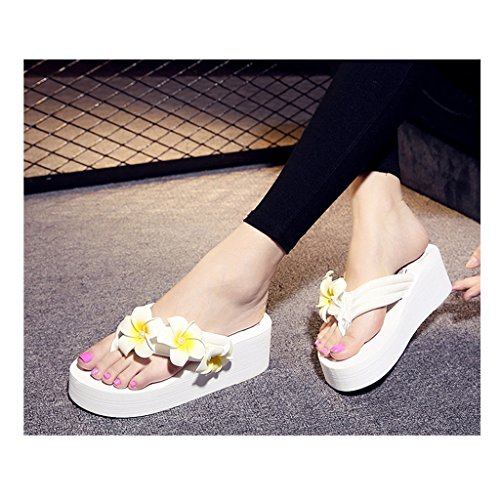 Eagsouni Damen Plateau Sandalen Plattform Flip Flops, Sommer Mädchen Blume Keilabsatz Hausschuhe Weiß