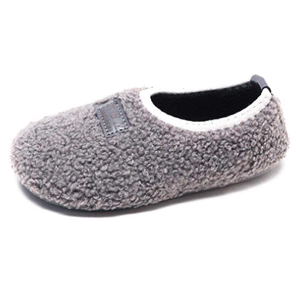 Elcssuy Boy Girl Winter Warm Cozy Comfy Plush Slip-on Slippers with Anti-Slip Sole Indoor Outdoor Shoes (Toddler/Little Kid) G29