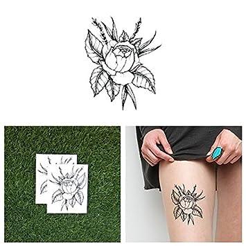 Tattify Tatouages Temporaires Fleur Rose Sauvage Set De 2