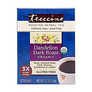 Teeccino Dandelion Tea – Dark Roast - Roasted Herbal Tea | Organic Roasted Dandelion Root | Prebiotic | Caffeine Free | Gluten Free | Acid Free | Coffee Alternative, 10 Tea Bags
