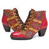 Socofy Ankle Booties,Bohemian Splicing Flower Pattern Lace up Zipper Block Heel Leather Outdoor Boots Rose 8 B(M) US