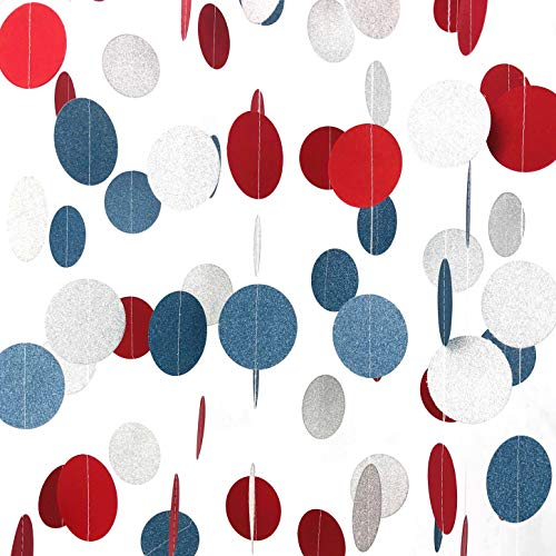 4th of July Independence Day Party Hanging Garlands National Day Patriotic American Theme Birthday Party Baby Shower Red Blue White Streamers Ceiling Hangings Decorations, 26ft -
