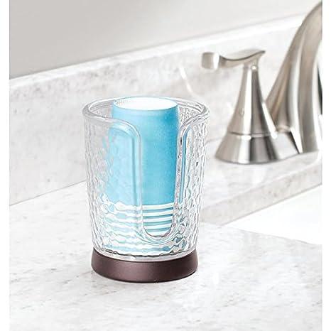 ... plástico con detalles en bronce - Práctico sujetavasos con base antideslizante - 8 vasos desechables incluidos - transparente/bronce: Amazon.es: Hogar