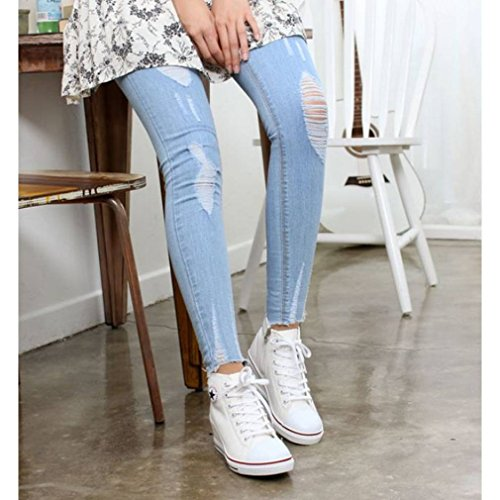 Heels Women's EpicStep White Sneakers Lace High Canvas High Shoes Wedges Fashion Platform Up Top FUYwqUx