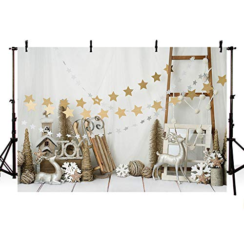 MEHOFOTO Christmas Party Decorations Wood Banner Photo Studio Backgrounds Props Christmas Stars Deer Ladder Photography Backdrops 7x5ft