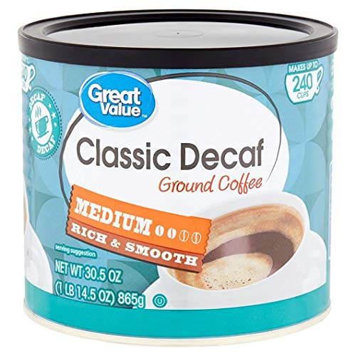 PACK OF 6 - Great Value Classic Decaf Ground Coffee, Medium Roast, 30.5 oz