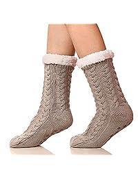 Puluma Womens Winter Thermal Snowflake Fleece Lining Fuzzy Warm Indoor Home Socks