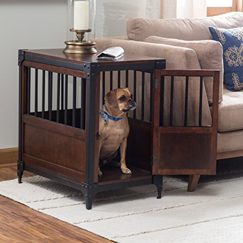 Boomer & George Wooden Pet Crate End Table in Espresso Finish with Metal Accents