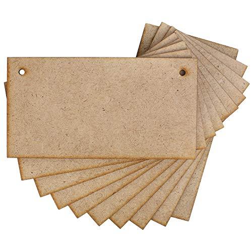 Creative Deco 10 x Carteles Madera Placa MDF Decorativa | 150 x 80 mm | con Agujeros para Colgar | Ideal para Decorar, Barnizar, Pintar y Decoupage