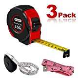 Tape Measure Retractable Metric Measuring Tape for Body 25 ft Tape Rule Soft Sewing Tape Measure Self Lock Measuring Tools with Fractions for Tailor Engineers Carpenter Fabric Cloth