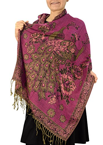 Peach Couture Floral Peacock Reversible Shimmer Layered Pashmina Wrap Shawl Scarf Hot Pink