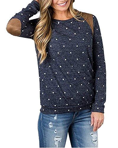 (VOKY Women Long Sleeve Polka Dot Sweatshirt Elbow Patches Plaid Sweater (S, Navy Blue-1))