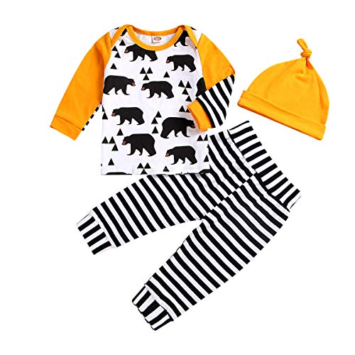 hes Long Sleeve Baby Bear Sweatsuit Top Striped Pants Hat Outfit Set (White-Black, 100(12-24M)) ()