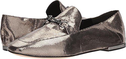 Donna Karan Debz Loafer Light Pewter Antique Metallic Leather 6.5