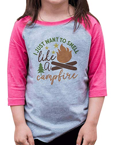7 ate 9 Apparel Girls I Want to Smell Like A Campfire Pink Shirt