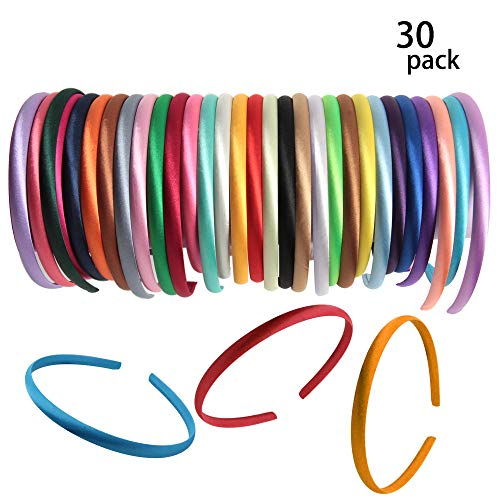 Hapy Shop Satin Covered Headbands,30 Pieces 1 cm Girl Satin Headbands Ribbon Covered 36cm Circle Size Perimeter Hair Accessories, Multicolor