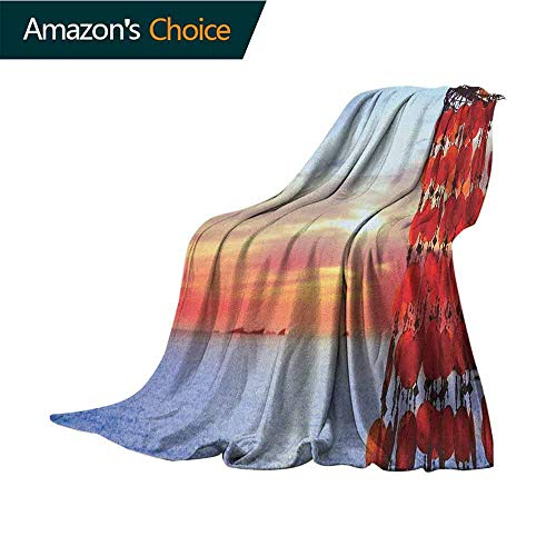 Beach Weighted Blanket Adult,Dreamcatcher Ibiza Sunset Mediterranean Sea View Picture Vacation Theme Image Cozy Blanket for Couch Sofa Bed Beach Travel,60