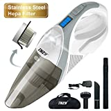 THZY Hand held Cordless Vacuum, Rechargeable 12V Car Cleaner VAC Li-ion Battery, Powerful Portable Pet Hair Vacuum, Cordless Busters with Stainless Steel Filter for Home and Car Cleaning