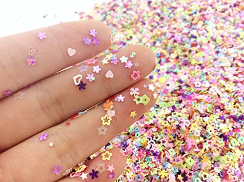 TKOnline 3.6oz/100g Multicolor Manicure Glitter Confetti,Mixed Shapes Size 2-4mm For Party Decoration,DIY Crafts,Premium Nail Art Etc (Confetti Shapes)