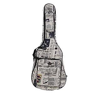 Ammoon Hülle für Akustikgitarren, wasserdichtes 600D-Oxford-Tuch, Zeitungs-Style, gepolsterte Schultergurte mit doppelten Nähten, für Klassik-Gitarren mit 104 cm Länge