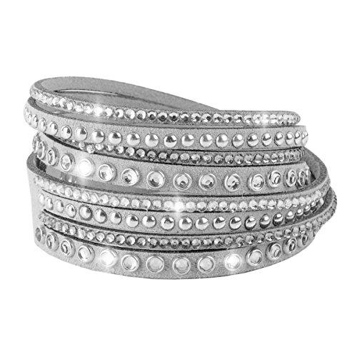 Luxus Damen Armband Wickelarmband Retro Vintage Veloursleder Strass (Grau)