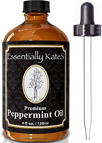 Peppermint Essential Oil 4 oz. with Detailed User's Guide E-book and Glass Dropper by Essentially KateS.