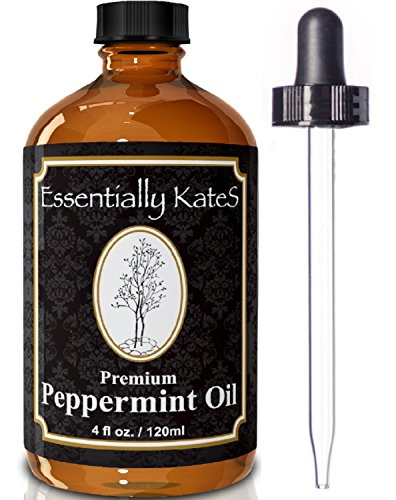 Peppermint Essential Oil 4 oz. with Detailed User's Guide E-book and Glass Dropper by Essentially KateS. (Natural Rat Repellent)