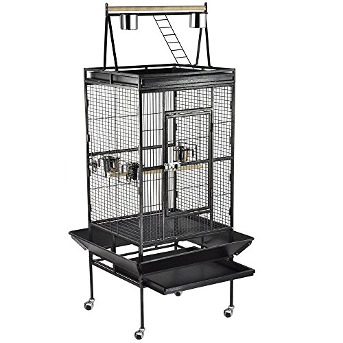 Easyfashion Bird Cage Large Play Top Bird Parrot Finch Cage