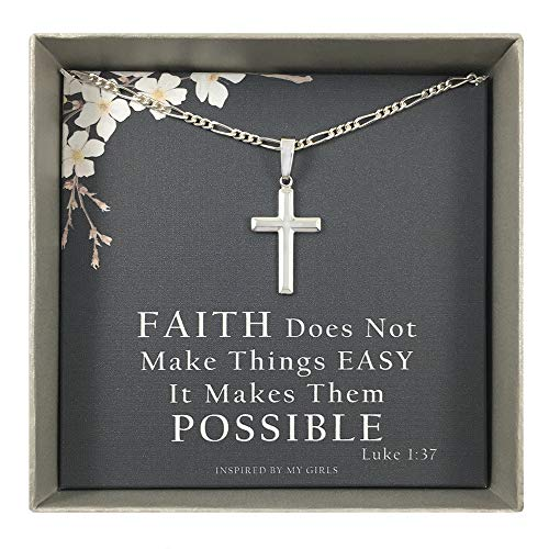 Womens Sterling Silver Cross Necklace with Figaro Chain and Faith Keepsake Card Gift - (Inspired Silver Cross)
