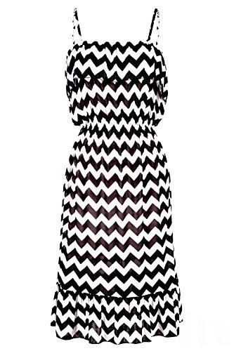 G2 Chic Women's Black & White Printed Midi Dress(DRS-CAS,2BKWHA3-L)