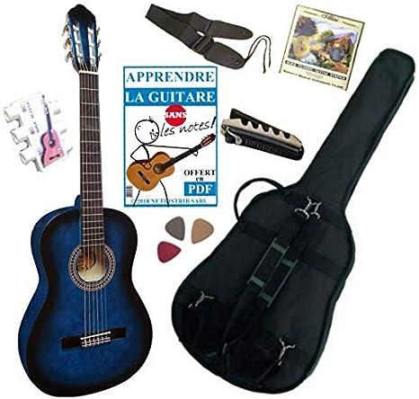 MSA - Guitarra clásica 3/4 (8-13 años, con 6 accesorios), azul: Amazon.es: Instrumentos musicales