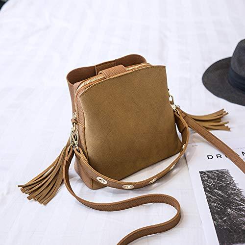 Bag size Marron Tassel free Ladies réglable sac PU sauvage Noir Petite Sangle Tote doux sacoche Mode Scrub qaga6d