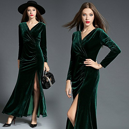 ZHUDJ Señoras _ Womens Vestidos Invierno Fina Hendidura Piso Plegable Hacia Abajo Blackish green
