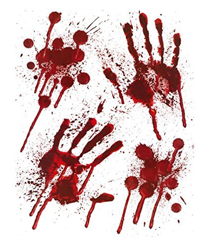 HENBRANDT Halloween Bloody Stickers Garland Bunting Fake Blood Window Wall Decoration (Window Stickers Footprints)