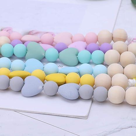 MIsha Cadena chupetes silicona personalizado Juguete para bebe, Silicona de calidad alimentaria y cuentas de madera.(Amarillo)