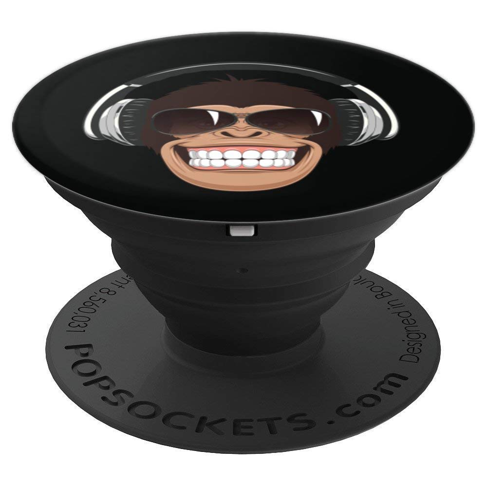Cheeky Monkey With Aviator Sunglasses Music Headphones - PopSockets Grip and Stand for Phones and Tablets