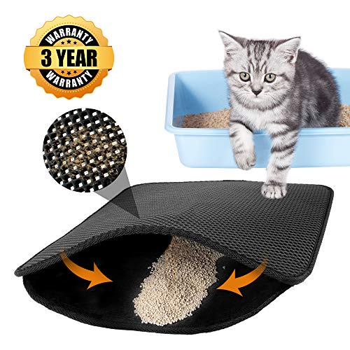 poppy pet Cat Litter Mat Litter Trapping Mat, Jumbo Kitty Litter Trapper Mat for Litter Box with Double Layer Urine Water Proof Scatter Control Easy Clean Large Size for Floor