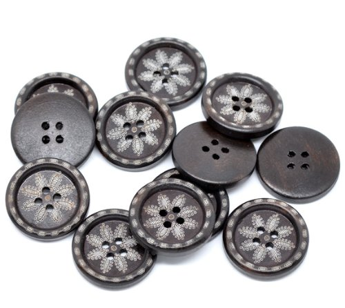 PEPPERLONELY Brand 50PC Dark Brown Snowflake 4 Hole Scrapbooking Sewing Wood Buttons 25mm(1 Inch)