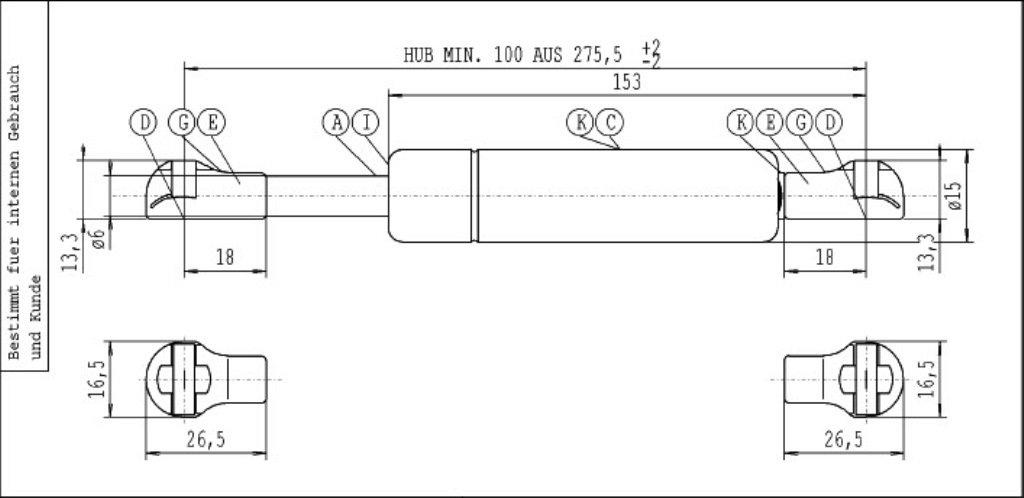 Stabilus 6147SD Gasfeder Industrie