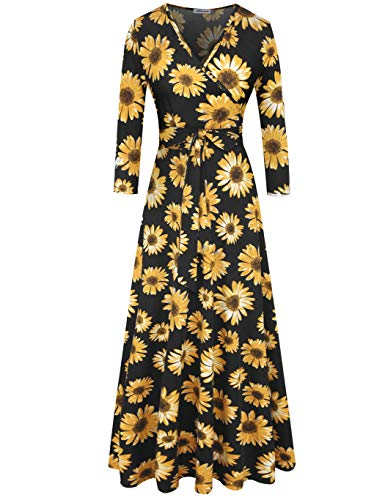 Aphratti Women's 3/4 Sleeve Faux Wrap V Neck Floral Vintage Long Maxi Dress X-Large Sunflower/Black