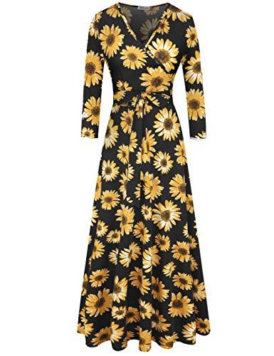 - Aphratti Women's 3/4 Sleeve Faux Wrap V Neck Floral Vintage Long Maxi Dress X-Large Sunflower/Black