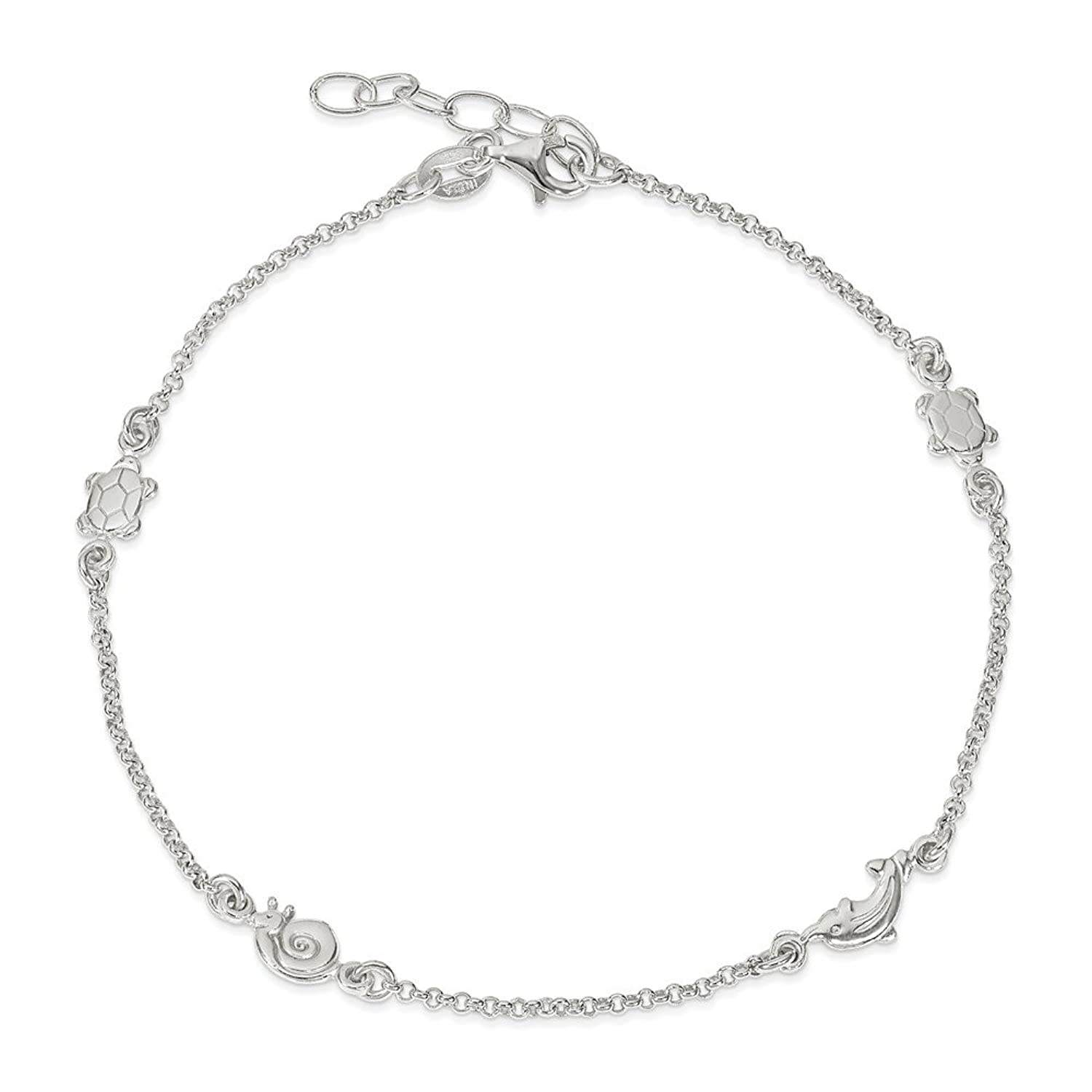 Roy Rose Jewelry Sterling Silver Polished Animal with 1-inch extension Anklet 9'' length