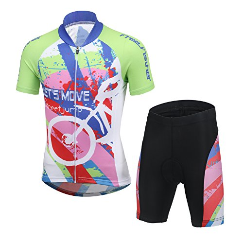 (CH&Q Kids Boys Girls Cycling Jersey Set Short Sleeve Jersey Clothing Apparel Suit for Mountain Bike Road Racing Outdoor 5T)