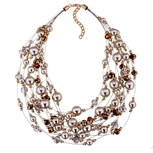 Fashion Golden Beads and Glass Beads Stands Choker Necklace for Women Multi-Layers Imitation Pearls Statement Necklace 2 Colors