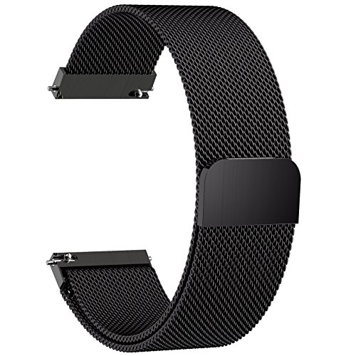 Fullmosa Compatible Huawei Watch Band, 18mm Watch Strap Quick Release Compatible Asus Zenwatch 2/LG Watch Style/Withings Activité/Steel HR 36mm Bracelet Milanese Watch Bands for Men Women, Black by Fullmosa
